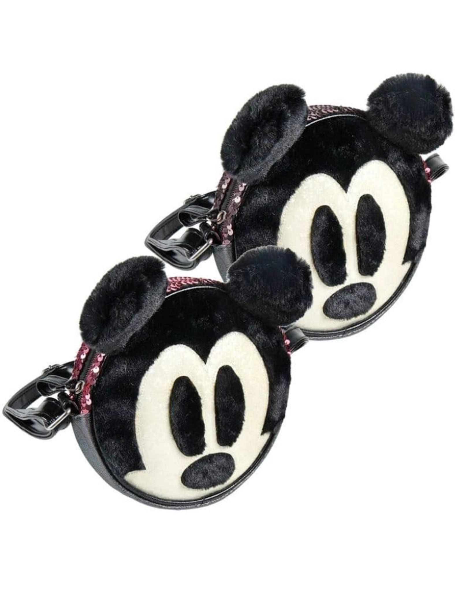 Karactermania Disney tassen - Disney  ronde schoudertas Mickey met pluche en pailletten