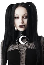 Killstar Gothic en Steampunk accessoires - Killstar choker Moon Rawk met Halve Maan en Kettingen
