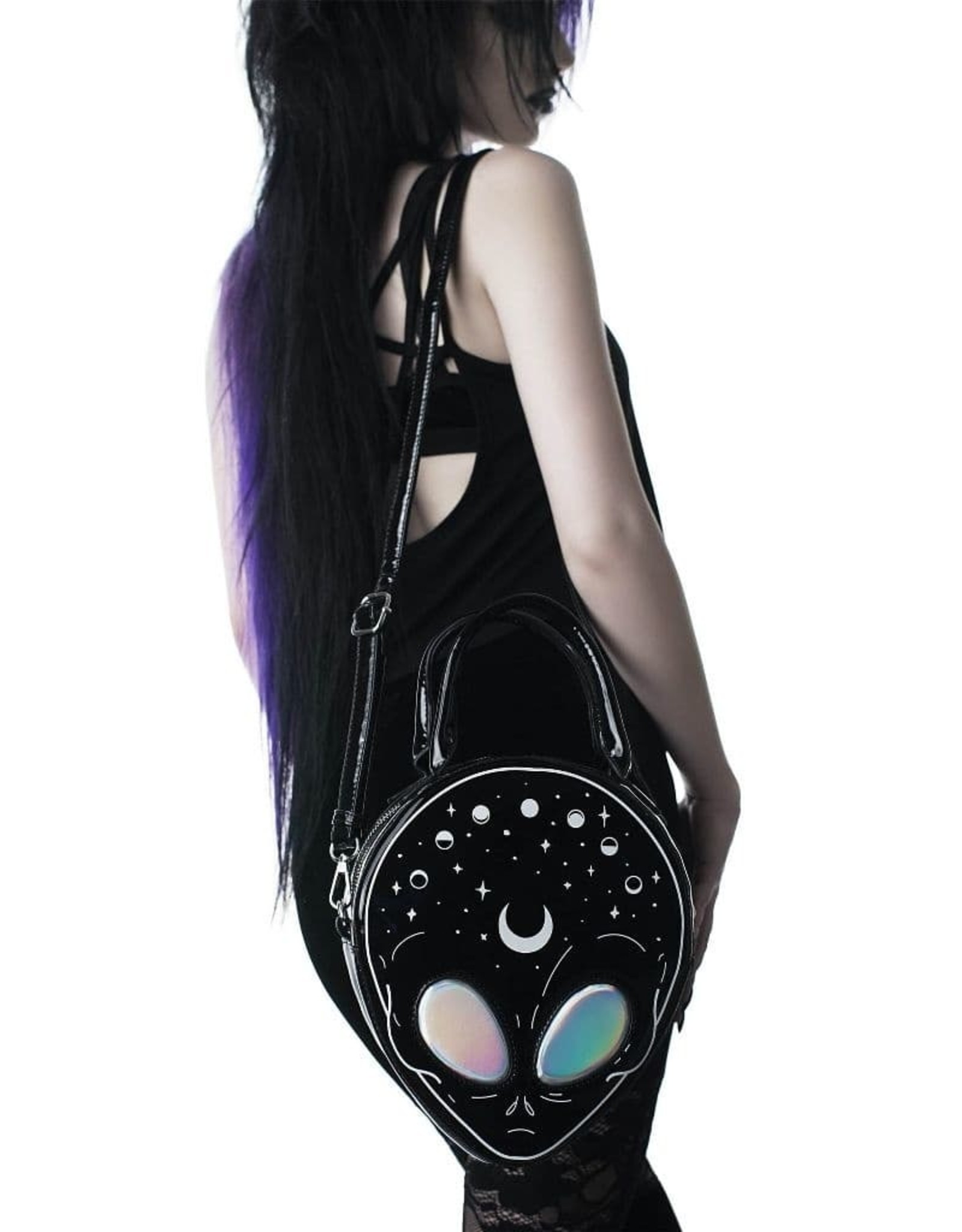 Killstar Gothic tassen Steampunk tassen - Killstar E.T. handtas (Alien met holografische ogen)