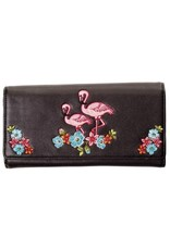 Banned Clutches and Wallets - Banned Retro purse Flamingos (black)