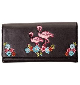 Banned Banned Retro portemonnee Flamingo's (zwart)