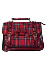 Banned Retro bags  Vintage bags - Banned Retro handbag with buckles and bow (red tartan)