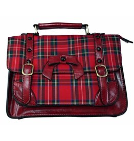 Banned Banned Retro handbag with buckles and bow (red tartan)