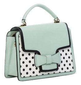 Vintage Banned Retro handbag Elegant Spots (mint-white)