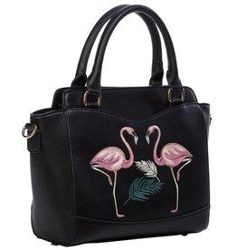 Vintage Banned Retro handbag Flamingo (black)