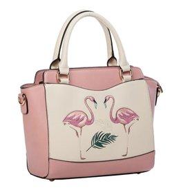Vintage Banned Retro handtas Flamingo (roze)