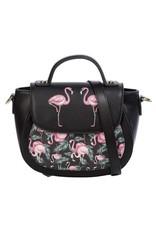 Banned Retro tassen Vintage tassen - Banned Retro schoudertas met Flamingo's Malibu