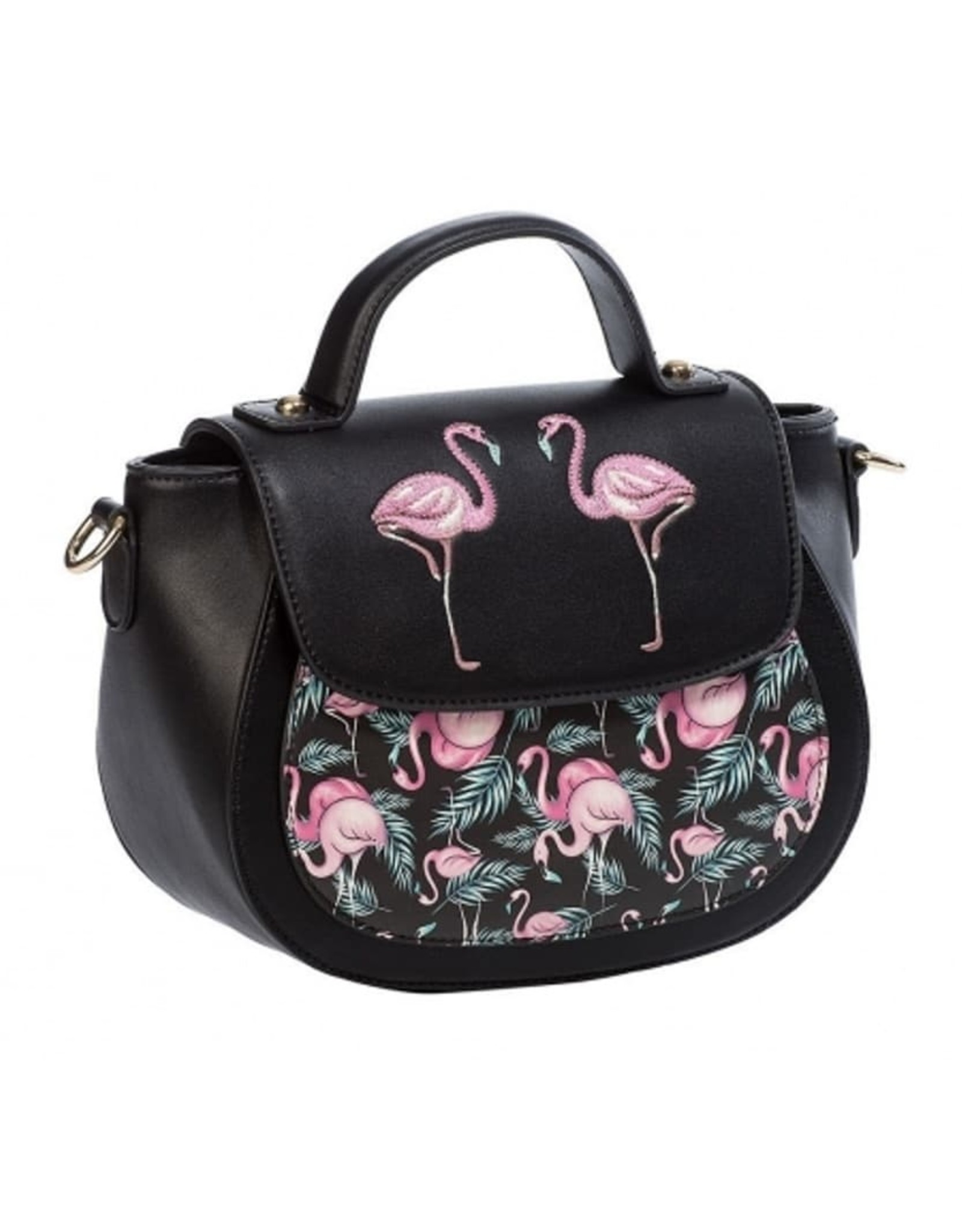 Vintage Retro tassen Vintage tassen - Banned Retro schoudertas met Flamingo's Malibu