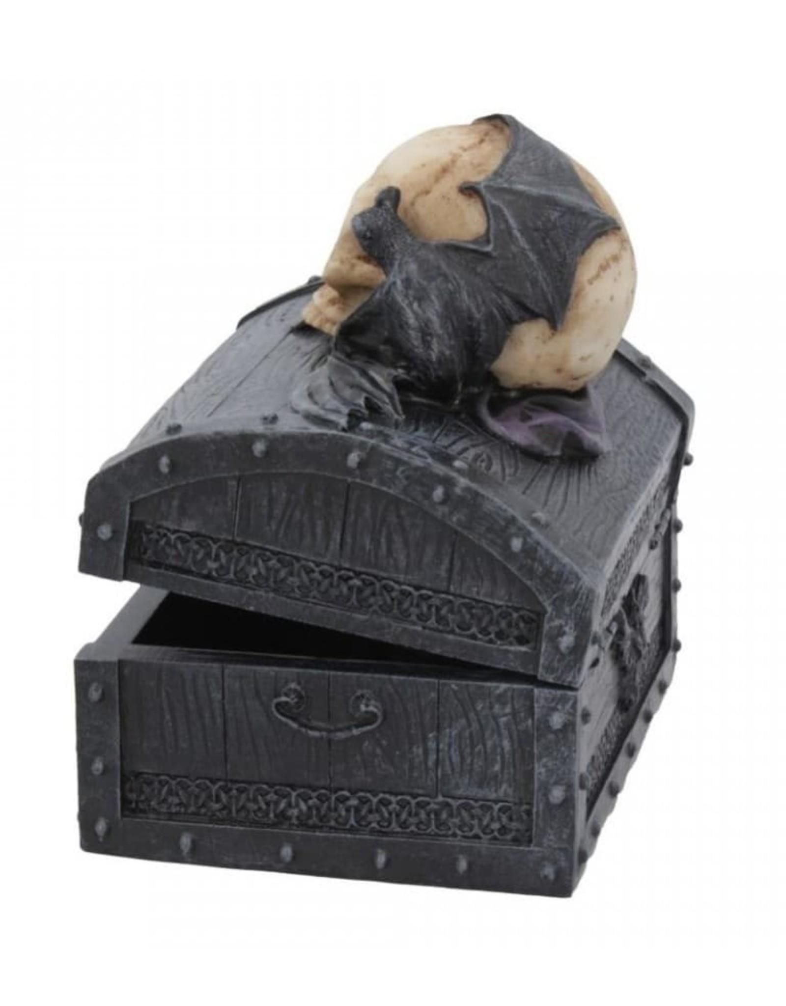 Alator Gothic and Steampunk accessories - Dark Shroud Bat & Skull Treasure Chest - Nemesis Now