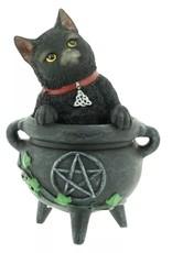 Alator Collectables - Zwarte Kat Smudge in Heksen Ketel beeldje  12cm - Lisa Parker