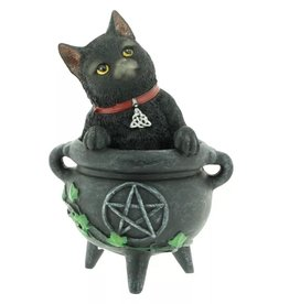 Alator Black Cat Smudge in Cauldron figurine  12cm - Lisa Parker