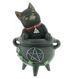 Alator Zwarte Kat Smudge in Heksen Ketel beeldje  12cm - Lisa Parker