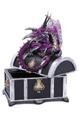 Alator Gothic and Steampunk accessories -  Treasure chest with purple dragon on it - Reptillian Riches - Nemesis Now