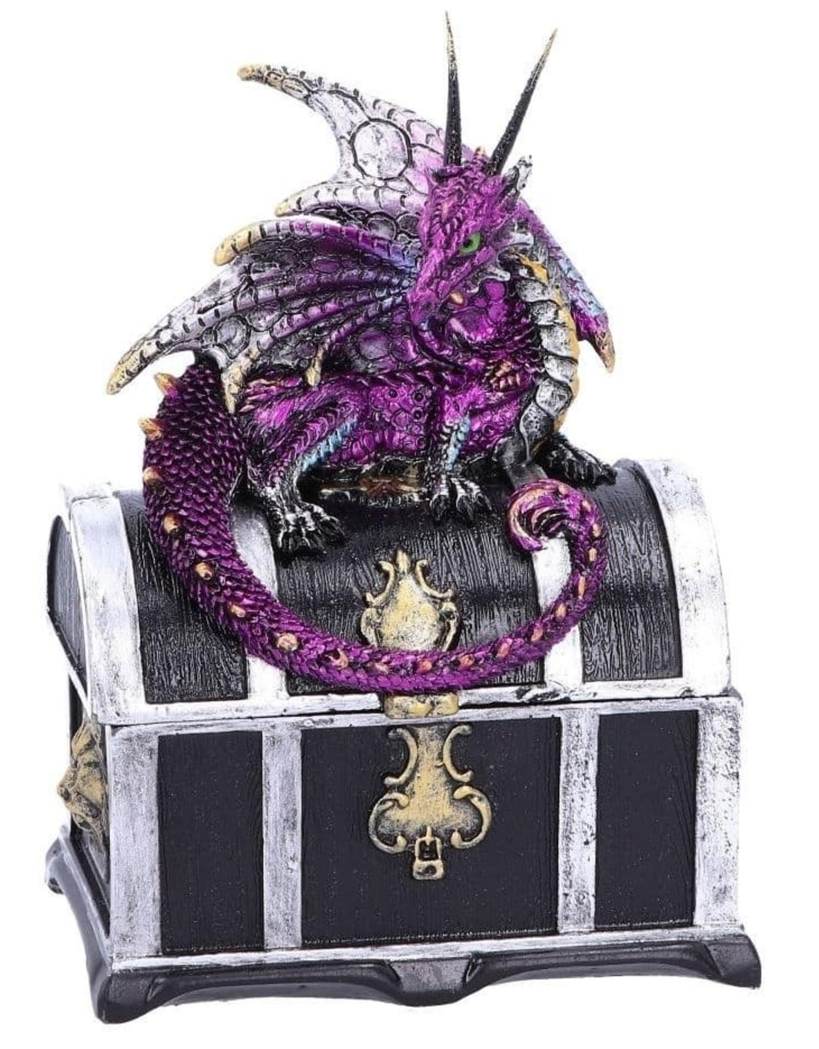 Alator Gothic en Steampunk accessoires - Schatkist met paarse draak er op - Reptillian Riches - Nemesis Now