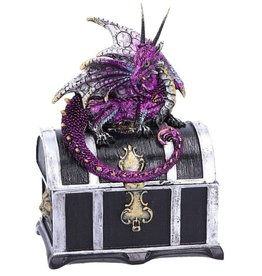 Alator Treasure chest with purple dragon on it - Reptillian Riches - Nemesis Now
