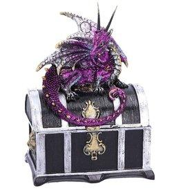 Alator Treasure chest with purple dragon on it - Reptillian Riches - Nemesis Now