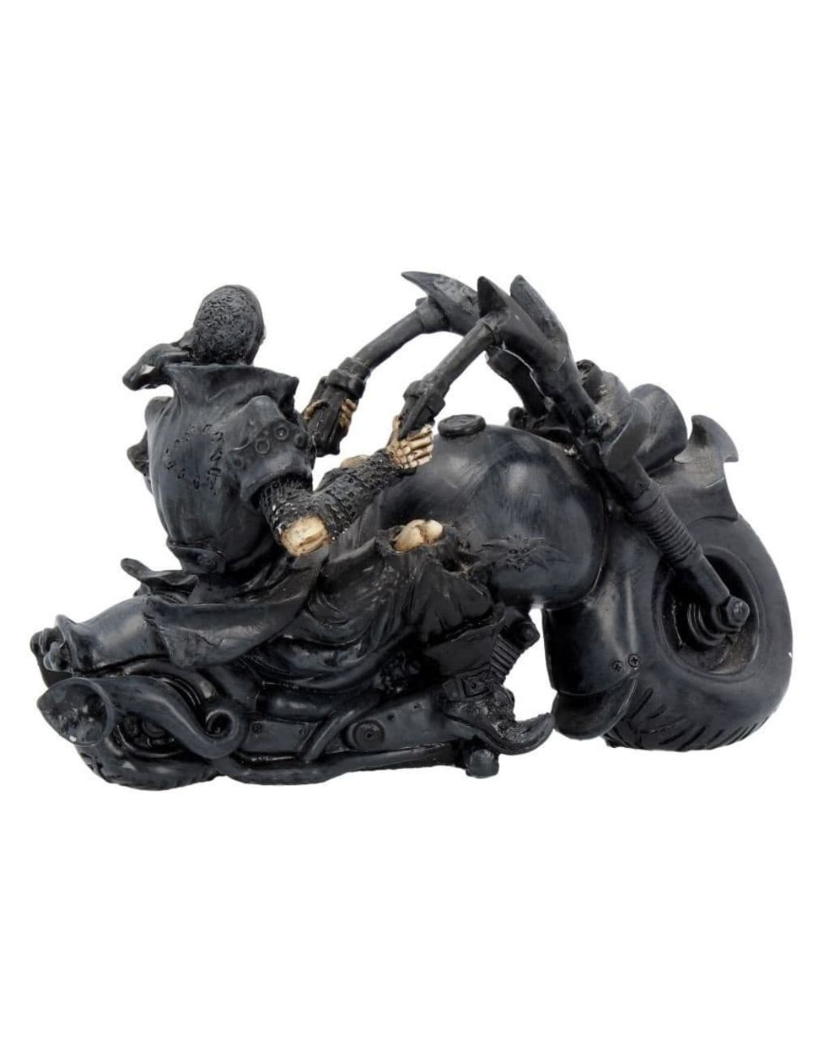 Nemesis Mow Collectables - Skeleton on the Motorcycle Screaming Wheels - Nemesis Now