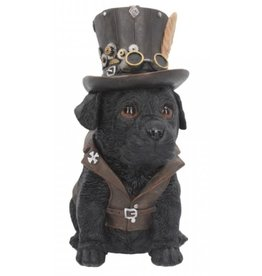 Alator Steampunk Dog with top hat Cogsmiths - Nemesis Now