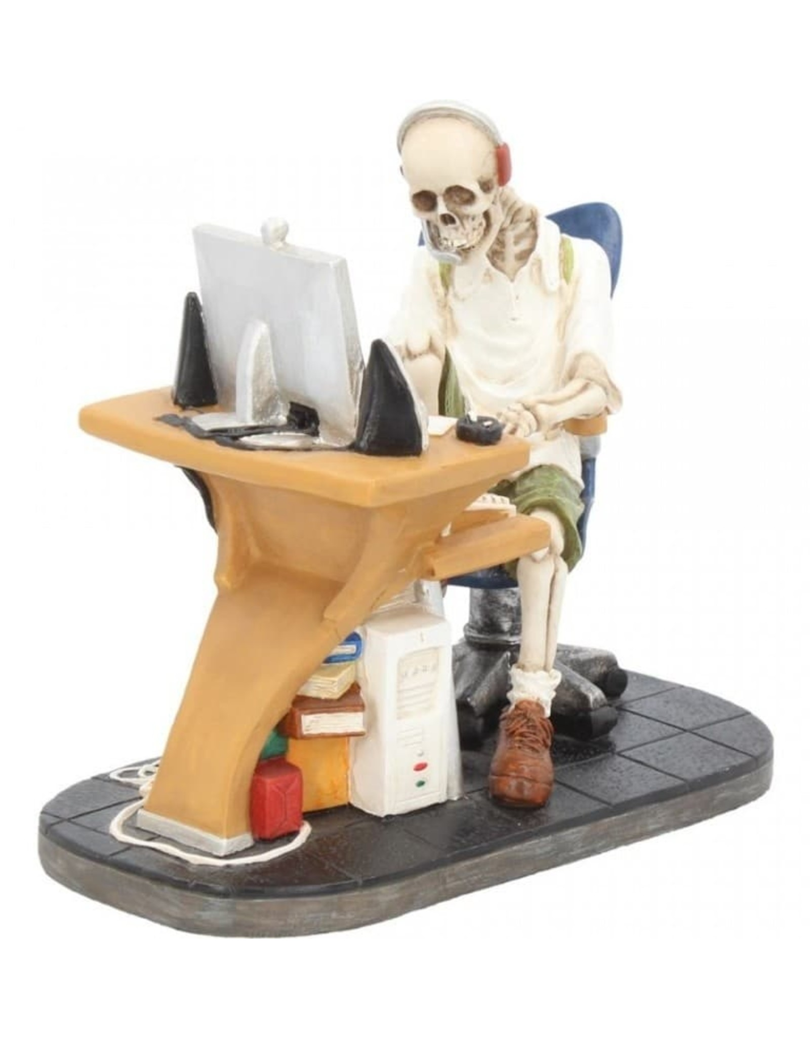 Veronese Design Collectables - Skeleton behind the PC Surfed Too Long Nemesis Now
