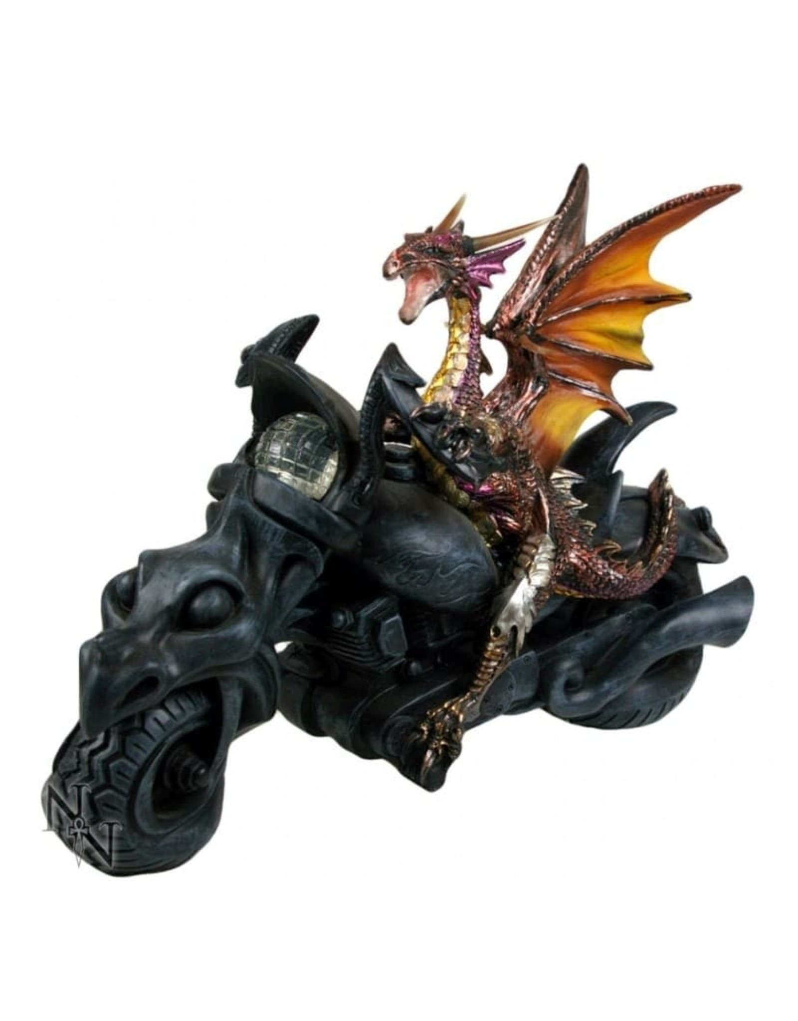 "Nemesis Collectables -  Dragon on Motorcycle figurine ""Born to Ride"" - Nemesis Now"
