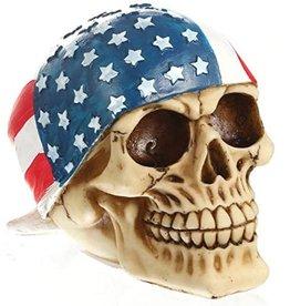 Skull wearing American Flag bandana