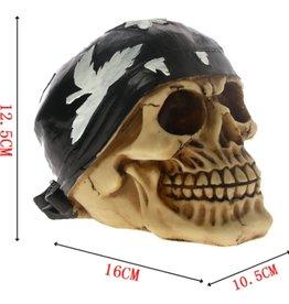 Skull wearing cannabis bandana