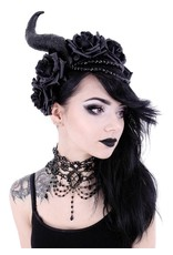 Restyle Gothic and Steampunk accessories - Long Horns with roses haarband Evil Queen