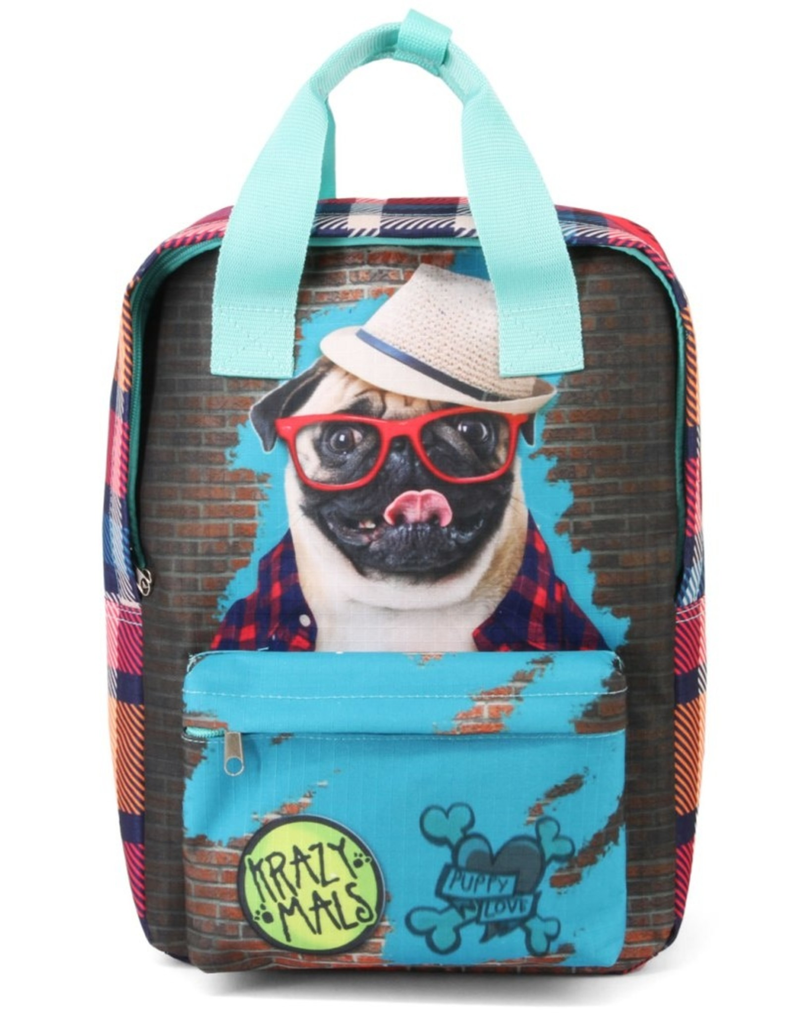 Krazymals Rugzakken en heuptassen - Krazymals rugzak Mops met bril en hoed op