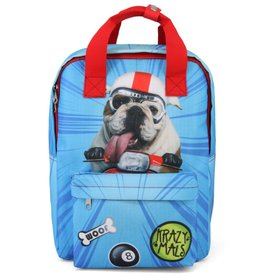 Krazymals Krazymals rugzak Bulldog met motorhelm en goggles