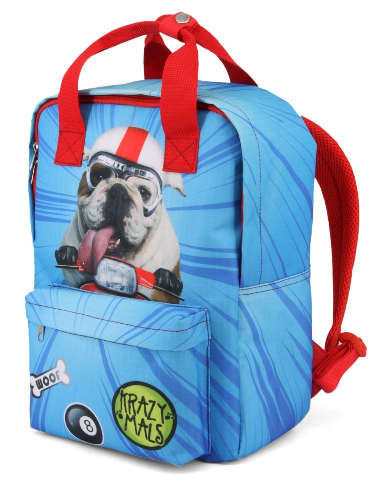 Krazymals Rugzakken en heuptassen - Krazymals rugzak Bulldog met motorhelm en goggles