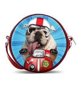 Krazymals Krazymals schoudertasje Bulldog op de motor