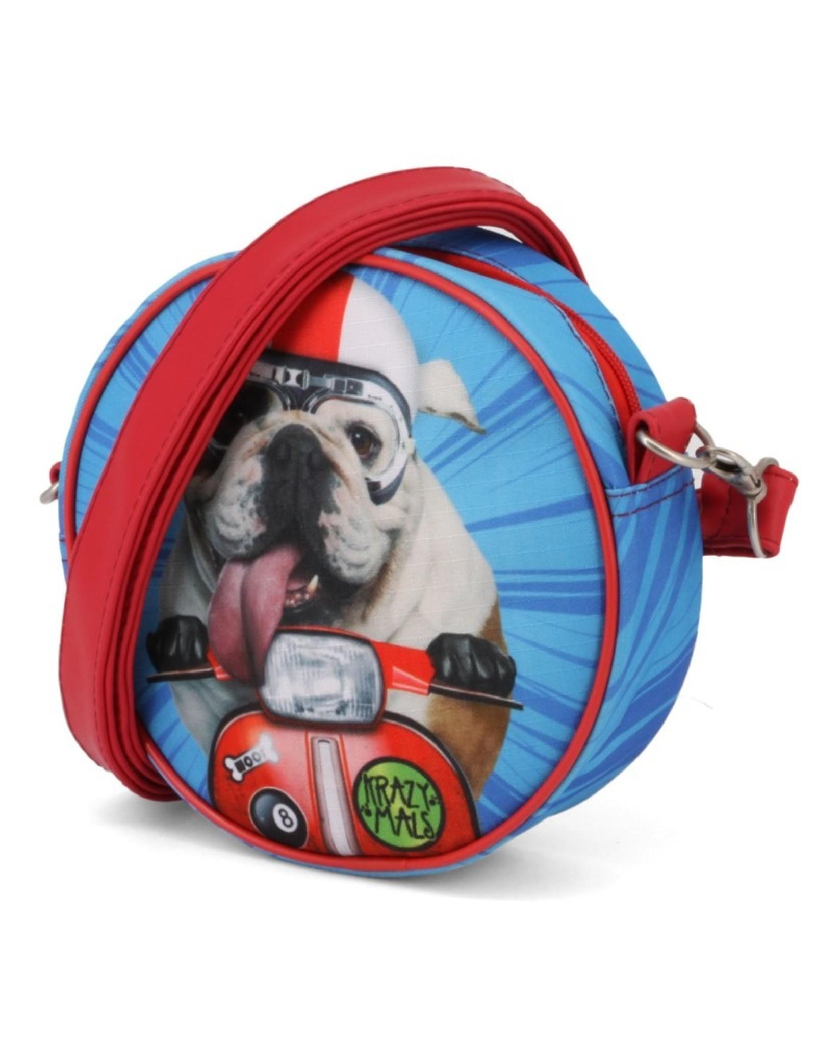 Krazymals Modieuze tassen - Krazymals schoudertasje Bulldog op de motor