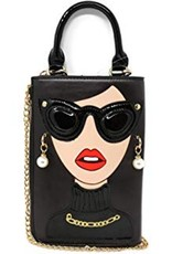 Magic Bags Fantasy bags -  Fantasy clutch Ladies Face with earrings and sunglasses (black)