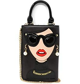 Magic Bags Fantasy clutch Ladies Face with earrings and sunglasses (black)