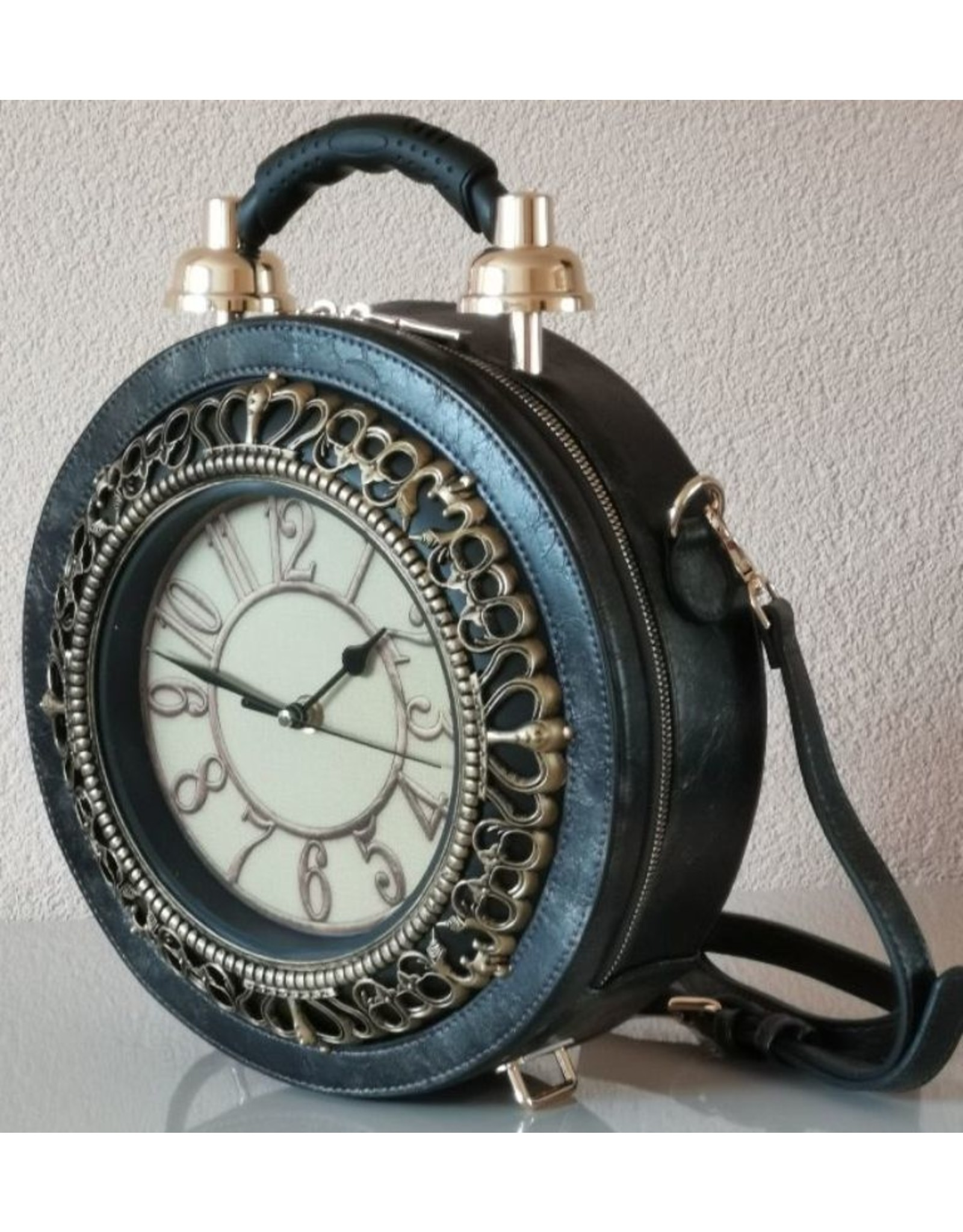 Magic Bags Steampunk bags Gothic bags - Handbag with real clock silver-grey (large)