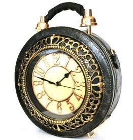 Magic Bags Handbag with real clock silver-grey (large)