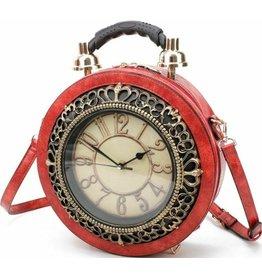 Magic Bags Handtas met werkende  Klok rood (groot)