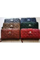 Bellicci Leather Wallets - Leather wallet braided washed leather Bellicci (cognac)