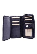Bellicci Leren Portemonnees - Leren portemonnee gevlochten leer Bellicci (blauw)