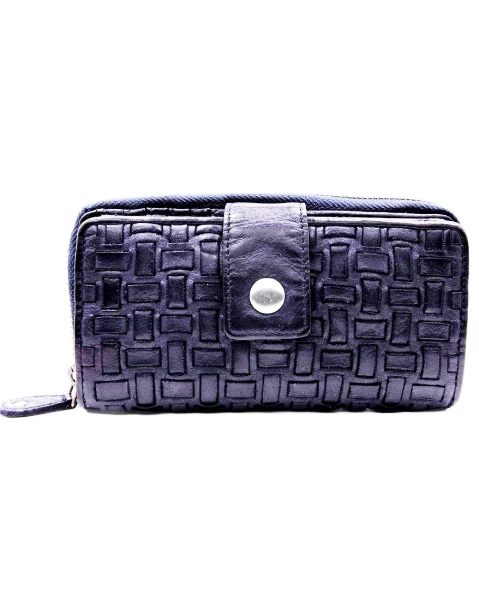 Bellicci Leather Wallets - Leather wallet braided washed leather Belliicci (blue)