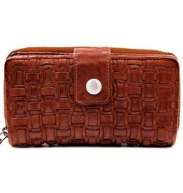 Bellicci Leather wallet braided washed leather cognac