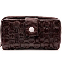 Bellicci Leather wallet braided washed leather dark brown
