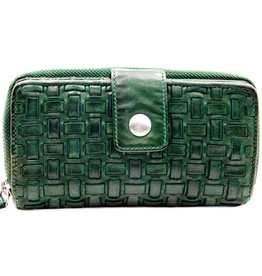 Bellicci Leather wallet braided washed leather green