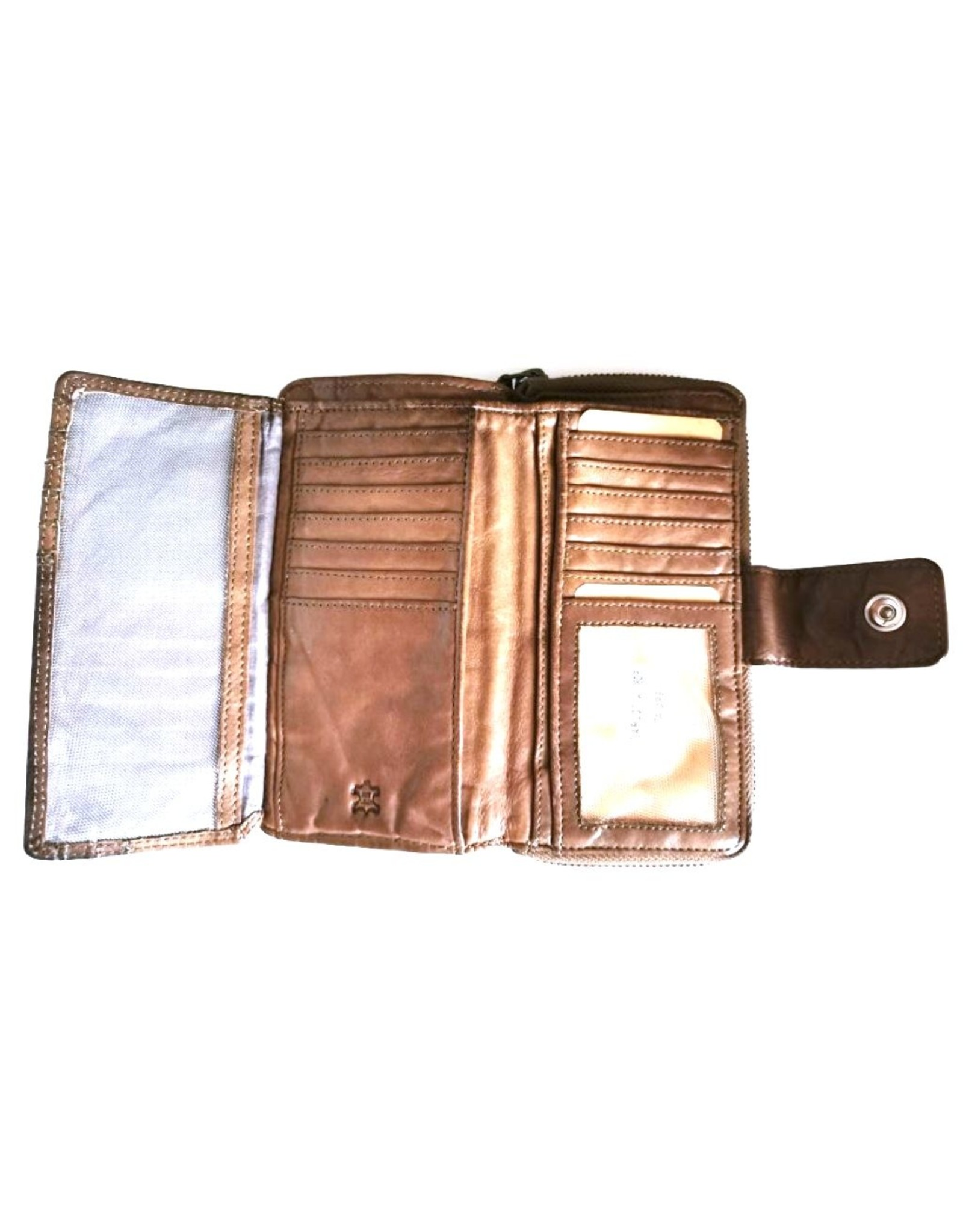 Bellicci Leather Wallets - Leather wallet braided washed leather Bellicci (taupe)