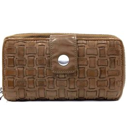 Bellicci Leather wallet braided washed leather taupe