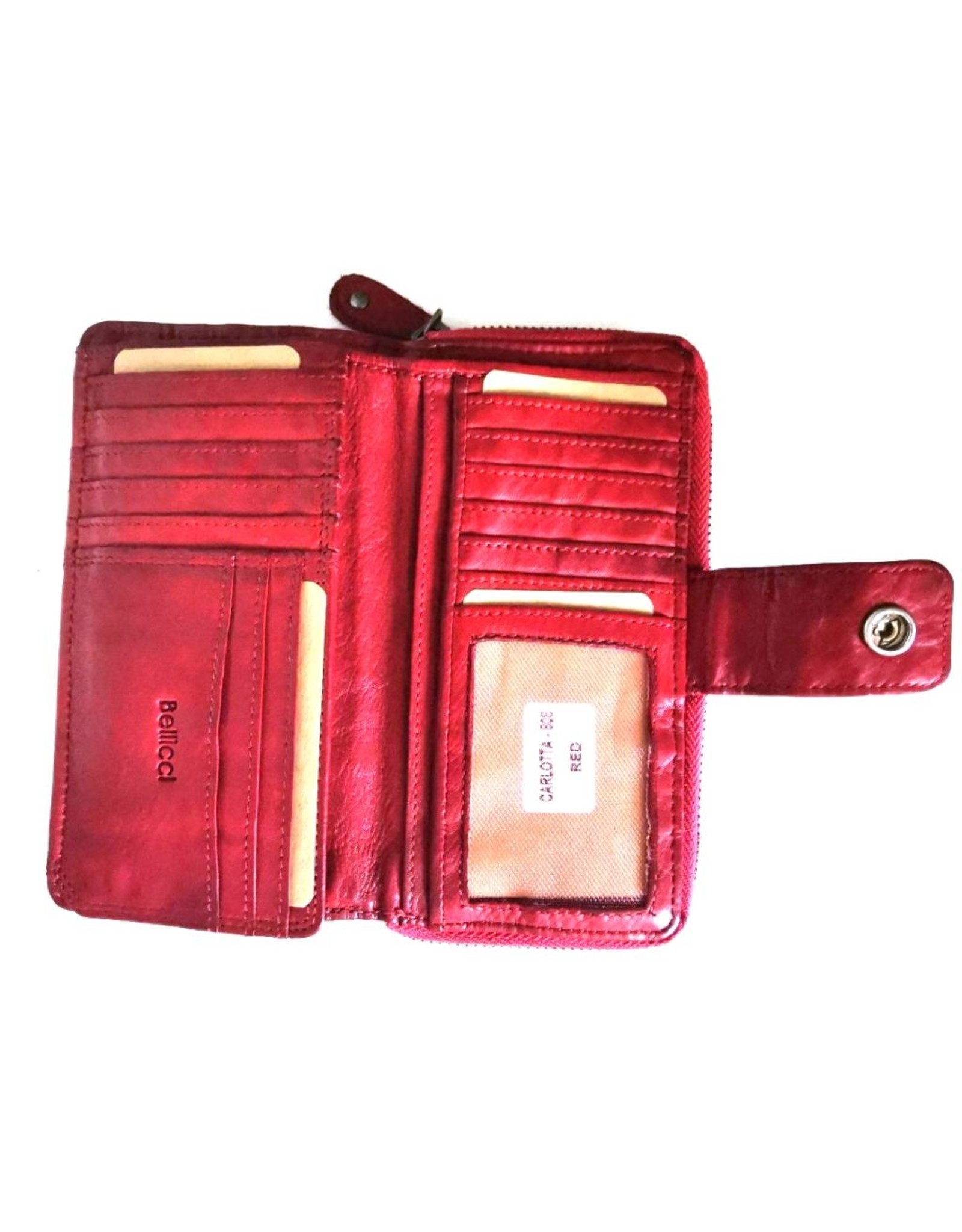 Bellicci Leather Wallets - Leather wallet braided washed leather Bellicci (red)