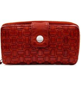 Bellicci Leren portemonnee gevlochten leer rood