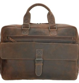 "Old West Laptoptas Old West 15,6 "" gelooid leer (donkerbruin)"