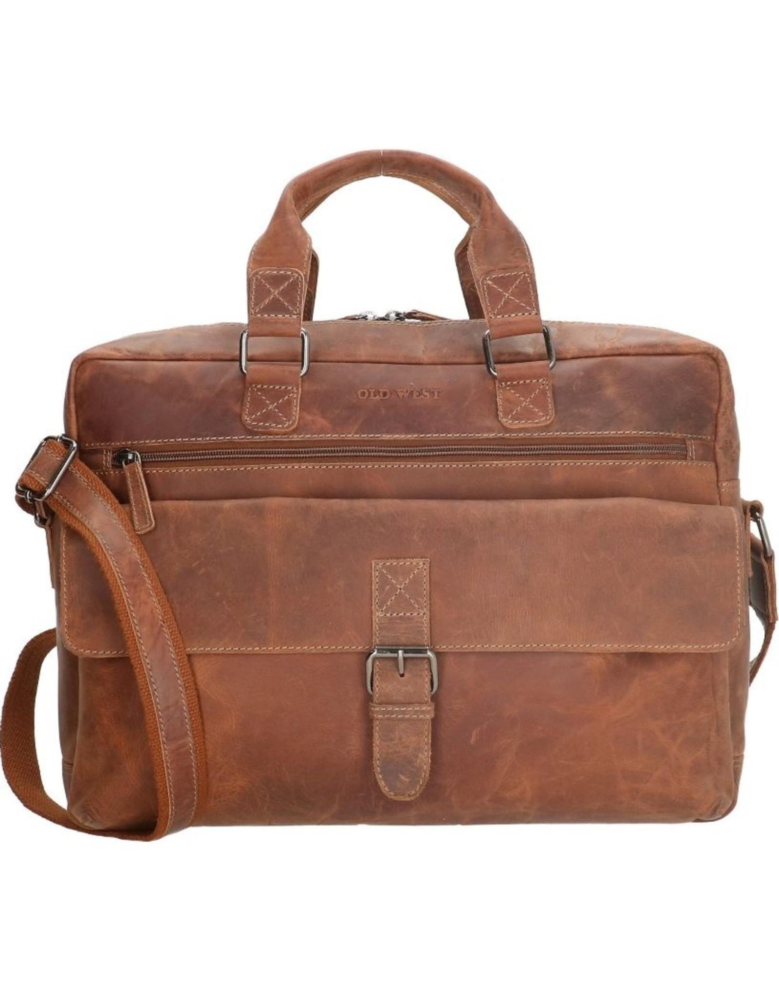 """Old West Leren werktassen en Leren laptoptassen - Laptoptas Old West 15,6 """" gelooid leer (camel)"""