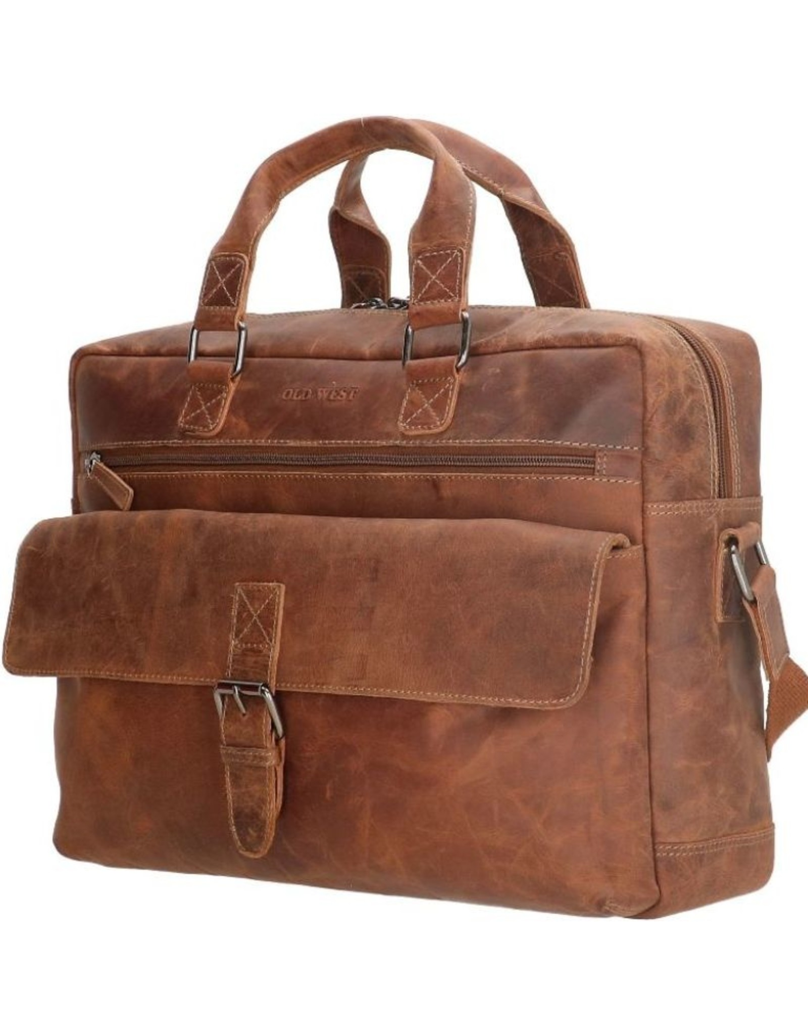 """Old West Leather laptop bags - Laptop bag Old West 15,6"""" tanned leather  (camel)"""